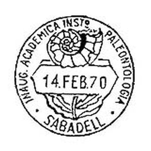 Ammonite fossil on commemorative postmark of Spain 1970