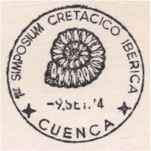 Ammonite fossil on commemorative postmark of Spain 1974