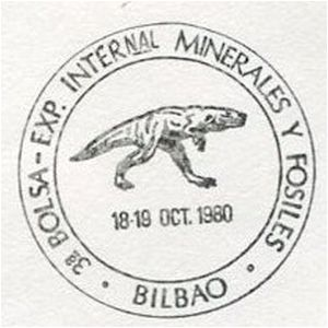 Dinosaur on commemorative postmark of Spain 1980