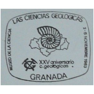 Ammonite over map of Andalusia region of Spain on commemorative postmark of Spain 1993