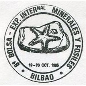 Sea star fossil on commemorative postmark of Spain 1985