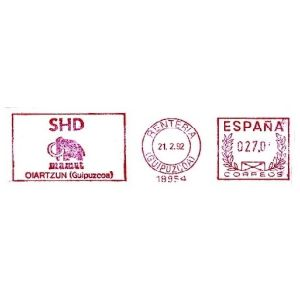 Mammoth on commemorative meter franking of Spain 1992