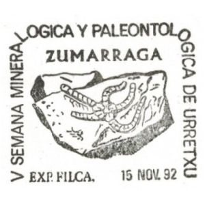 Sea star fossil on commemorative postmark of Spain 1992