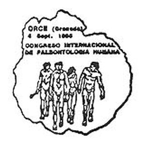 Group of prehistoric human on commemorative postmark of Spain 1995