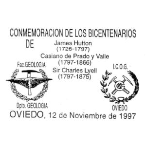 Brachiopod on commemorative postmark of Spain 19957