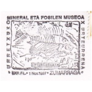 Fish fossil on commemorative postmark of Spain 1997