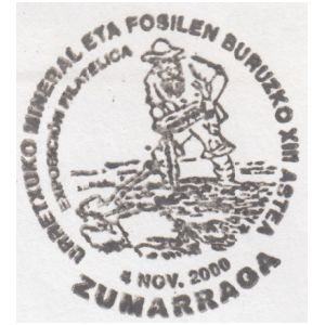 Fossil collector on commemorative postmark of Spain 2000