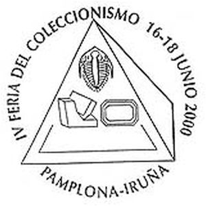 Trilobite fossil on commemorative postmark of Spain 2000