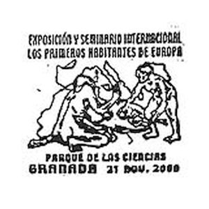 Prehistoric humans on commemorative postmark of Spain 2000