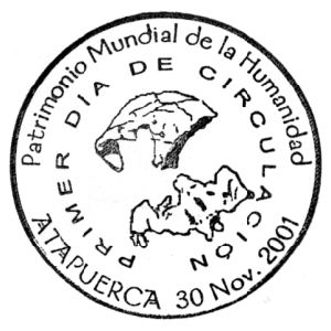 Fossil of Homo erectus from Atapuerca on commemorative postmark of Spain 2001