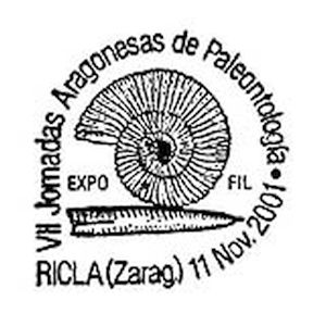 Ammonite and Belemnite fossil on commemorative postmark of Spain 2001