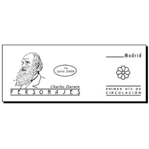 Charles Darwin on commemorative postmark of Spain 2009