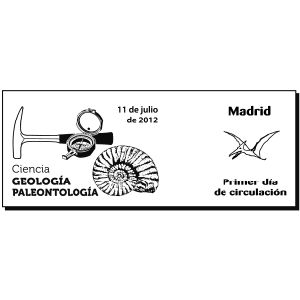 Ammonite and Pterosaur on commemorative postmark of Spain 2012