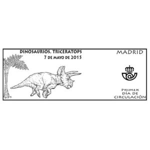 Triceratops  dinosaur on commemorative postmark of Spain 2015