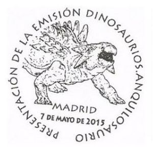 Ankylosaurus dinosaur on commemorative postmark of Spain 2015