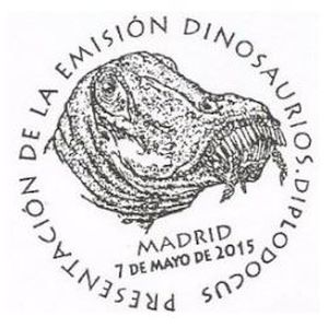 Diplodocus   dinosaur on commemorative postmark of Spain 2015