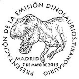 Tyrannosaurus rex dinosaur on commemorative postmark of Spain 2015