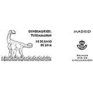 Turiasaurus dinosaur on commemorative postmark of Spain 2016