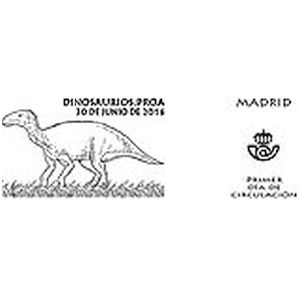 Proa dinosaur on commemorative postmark of Spain 2016