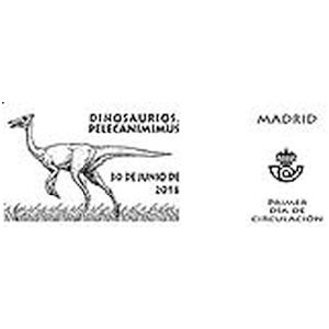 Pelecaniminus dinosaur on commemorative postmark of Spain 2016