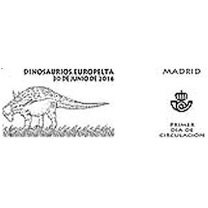 Europelta dinosaur on commemorative postmark of Spain 2016