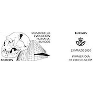 Skull of prehistoric human on commemorative postmark of Spain 2020
