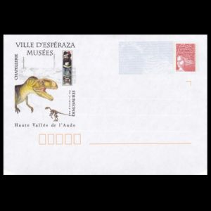 Dinosaurs on the cachet of the postal stationery of France