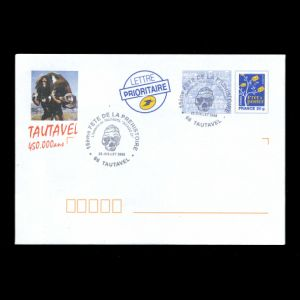 Tautavel man  on the cachet of the postal stationery of France