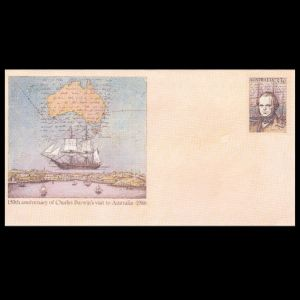 Charles Darwin on imprinted stamps of Australian postal stationery 1986