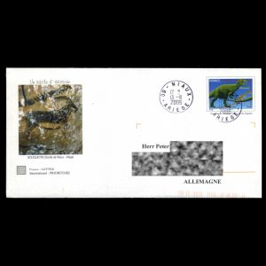 Post Stationery of France 2006 with imprinted stamp of Allosaurus dinosaur