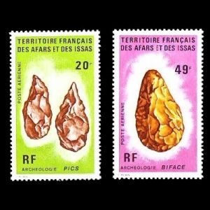 Flint tools on stamps of Afars and Issas 1973