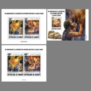 Prehistoric animals on paintig of Lascaux cave on post stamps of Djibouti 2020