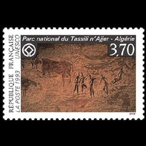 Cave painting on France-UNESCO stamp of Tassili National Park 1993