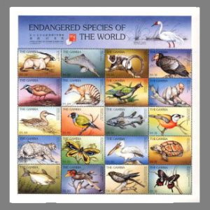 Latimeria chalumnae among Endangered Species on stamps of Gambia 1997