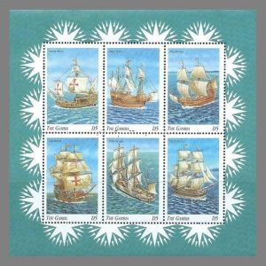 HMS Beagle among other ships on stamps of Gambia 1998