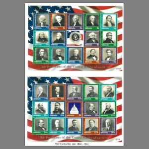 Thomas Jefferson among other American Presidents on stamps of Grenada 2007