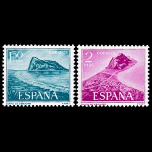 The Rock of Gibraltar - Natural fossil found place - on stamps of Spain 1969