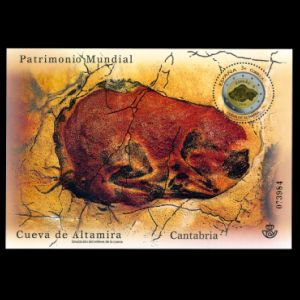 Steppe bison on cave painting in Altamira cave on stamp of Spain 2015