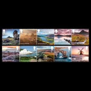Fossil found places on National Park stamps of UK 2021