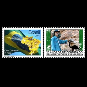 Paleontologist William Roberto Nava with Titanosaurs dinosaur fossil on personalized stamp of Brazil 2013