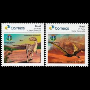 Dinosaur and Pterosaur on personalized stamp of Brazil 2019