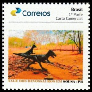 Noasaurids dinosaurs on personalized stamp of Brazil