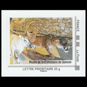Prehistoric museum of Quinsion on personalized stamp of France 2010