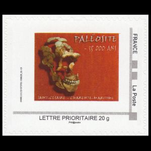 Neanderthal skull female at St.-Césaire in the Department of Charente-Maritime on personalized stamp of France 2011