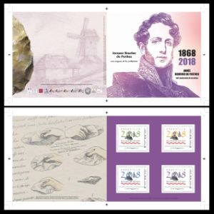 Flint tools and its discover Jacques Boucher de Crèvecœur de Perthes on personalized stamp of France 2018