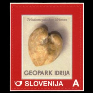 Fossil shell on personalized stamp of Slovenia 2014