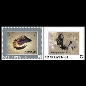 Fossils of Decapod and Fish on personalized stamps of Slovenia 2015