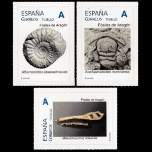 Skull of marine crocodile Maledictosuchus riclaensis from Ricla (Zaragoza) on personalized stamp of Spain 2019