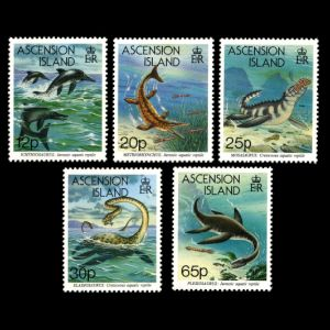 prehistoric animals, sea mosters on stamps of Ascention Islands 1994