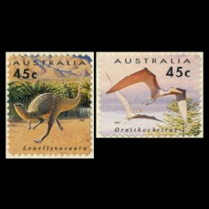 dinosaurs on self adheive stamps of Australia 1993